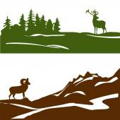 Banner with the mountain landscape and forest, silhouette — Stock Vector