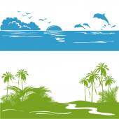 Banner with a sea view and the tropics, silhouette — 图库矢量图片