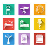Flat icons of furniture and equipment for the home — Stock Vector