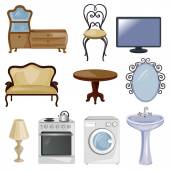 Set of furniture and equipment for the home — Stockvektor