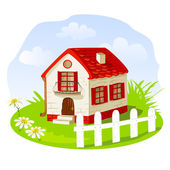 Vintage house on a summer lawn — Stockvector