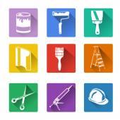 плоский значок, ремонт дома — Cтоковый вектор