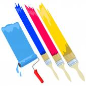 Paint brush, roller, isolated — Stockvektor