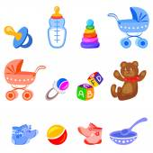 Icons with baby elements — Stock Vector