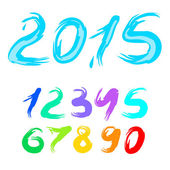 Calligraphy vector 2015 new year, set of digits — Stock Vector