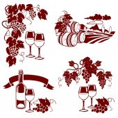 Set of wine logos, imprint — Stock Vector