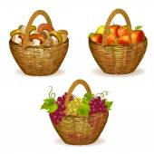 Set of wicker baskets with fruits, mushrooms — Stock Vector
