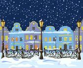 Night winter city with lanterns — Stock Vector