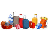 Banner with luggage, suitcases, backpacks, packages — Stockvector