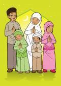 Saudações família muçulmanas indonésias — Vetor de Stock