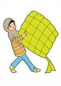 Muslim girl with big ketupat — Stock Vector