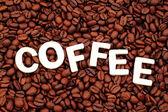 Coffee Spelled On Coffee Beans — Stockfoto