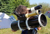 Camp astronomer — Stock Photo