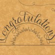 Congratulations lettering illustration hand written design on a gold background — Stock Vector #62707595