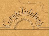 Congratulations lettering illustration hand written design on a gold background — Vector de stock