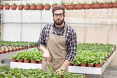 Young florist  in greenhouse — Stock Photo