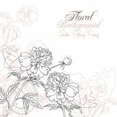 パンジーと牡丹の花の背景 — ストックベクタ