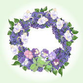 Wreath with  lilac and color pansies — Stock Vector