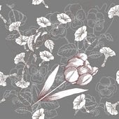 Brown seamless pattern with flowers — Stockvector