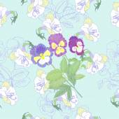 Blue Seamless pattern  with flowers and pansies — Stok Vektör