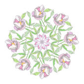 Ornamental round with color peonies — Vector de stock
