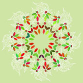 Round lase pattern  with poinsettia — Vector de stock