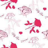 Seamless mönster med rosa ros — Stockvektor