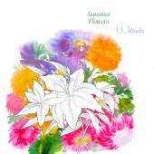 背景与夏天的花和水彩画-04 — 图库矢量图片