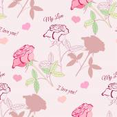 Seamless pattern with pink rose2-2 — Stockvector