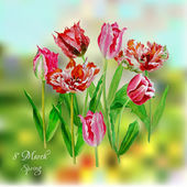 Background with tulips — Stock Vector
