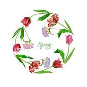 Wreath with tulips — Stock Vector