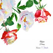 Background with rose and peony-03 — Stockvektor