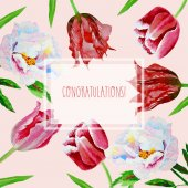 Card with tulips and peonies — Vector de stock