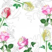 背景与红色 roses2-01 — 图库矢量图片