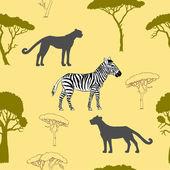 Seamless pattern with savanna animals-02 — Stock Vector