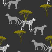 Seamless pattern with savanna animals-05 — Stock Vector