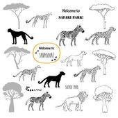 Savanna animals set — Stock Vector