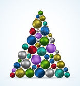 Christmas tree with toys on white background — Stock Vector