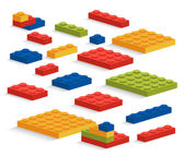 Set of plastic Lego pieces or constructor — Stock Vector