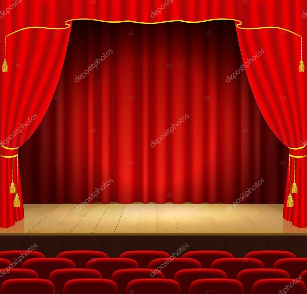 sc ne de th tre avec rideau rouge image vectorielle 59687609. Black Bedroom Furniture Sets. Home Design Ideas