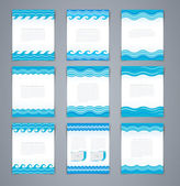 Vector set wavy layout brochures or poster, magazine cover, or corporate design template advertisment in blue colors — Stock Vector