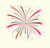 Buntes Feuerwerk auf weißem Hintergrund — Stockvektor
