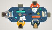 Teamwork for computers online. Business strategy, development pr — Stock Vector