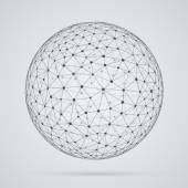 Global  network, sphere. Abstract geometric spherical shape with — Stock Vector