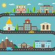 Постер, плакат: Urban landscape in flat design City life with modern icons of u