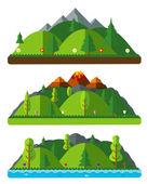 Design nature landscapes, hills and mountains. Natural landscape — Stock Vector