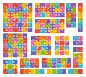 Parts of puzzles on white background in colored colors. Set of p — Stock Vector