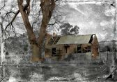 Ruins of Australian homestead with retro grunge filter — Foto Stock