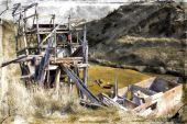 Dilapidated mining structure with retro grunge filter applied — Stock Photo