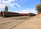 Old trains at railway station — Foto de Stock
